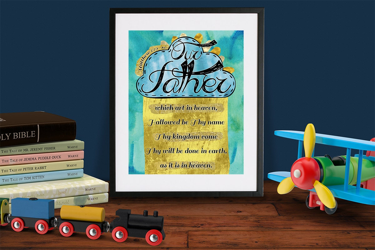 lords prayer scripture printable art matthew 6 our father