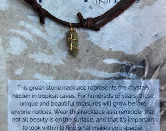 Green Crystal Gold Wrapped Chocolate Deerskin Lace Necklace *Limited Edition*