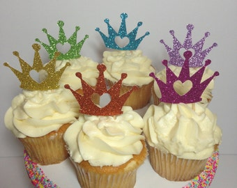 Princess Crowns Cupcake Toppers (Princess Party, Princess Decorations, Glitter Toppers)