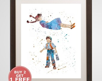 Sheeta and Pazu Print, Laputa: Castle in the sky watercolor, home arts, decor, cartoon kids children Illustration, Gift, Anime Poster YC428