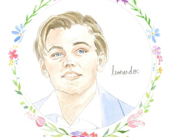 Leonardo di Caprio Watercolor Illustration Original Art Print 5x7
