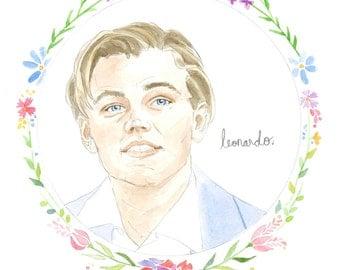 Leonardo DiCaprio Watercolor Illustration Art Print 5x7