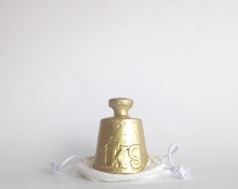 concrete vintage weight replica | gold | paperweight | doorstop | bookend
