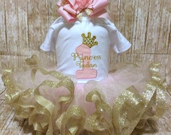 Birthday Princess custom bodysuit, tutu, and hair bow