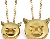 3D Devil Emoji Pendant, Devil Emoji Jewelry, Devil Emoji Jewelry, Emoji Jewelry, 24K Gold Emoji Devil