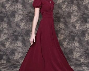 Long marsala dress with pockets/ Long burgundy dress/ Burgundy dress for bridesmaids/ Marsala bridesmaid dress/ Burgundy formal dress women