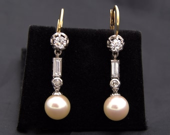 Pearl Diamond Gold Earrings earrings with pearls bright pendant in 18 k gold