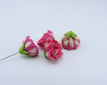 5 pcs. or more peony blue flowers, polymer clay flower bead