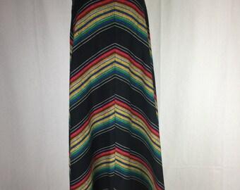 Vtg 70s chevron rainbow southwestern maxi skirt XS