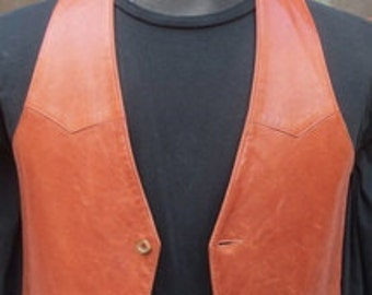 Vintage ORBACH's LEATHER VEST, leather front and back Size Small