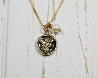 Honey Bee Charm Necklace / Bronze