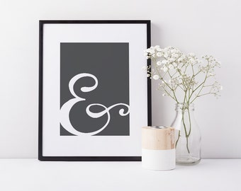 Ampersand, And sign, Stylish wall decor, Cute office decor, Modern loft decor, Modernist wall art, DIGITAL DOWNLOAD