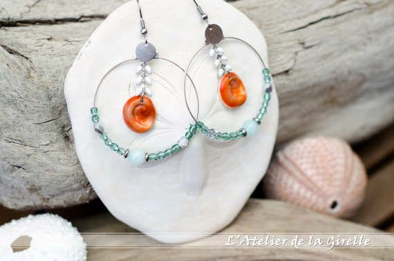 Earring hoops creole OPAH - Eye of Santa Lucia, amazonite gemstone and faceted round beads Erinite - Stainless steel hooks