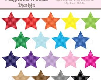 Star Clip Art, Polka Dot Stars Clip Art, Rainbow Star Clip Art, Star PNG, Digital Stars, Small Commercial Clip Art, Shapes Clip Art