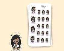 COFFEE Addict Sarah Planner Stickers / Hand drawn, cute, colorful / For your planner, agenda, calendar, scrapbook, laptop