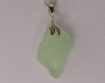 Genuine sea glass pendant / sterling silver