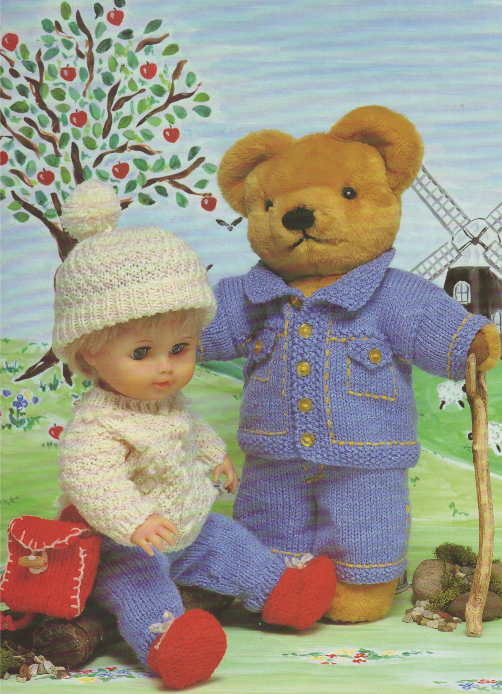 Teddy Bear And Dolls Clothes Pdf Knitting Pattern Dk