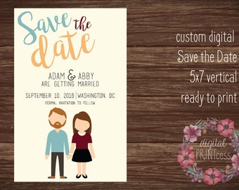 Personalized Save the Date-5x7-custom cartoons