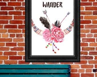 Tribal Art Print, Wander Print, Floral Horns, Skull Wall Art, Tribal Printable, Aztec Print, 8x10 Digital Download, Tribal Quote