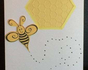 Handmade Greeting Cards-Buzzing Bees-(Set of 5 Cards) Notecards