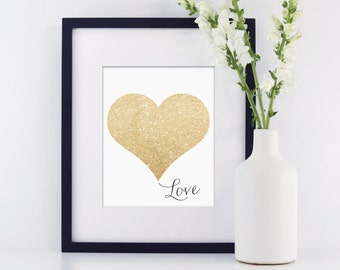 Glitter Heart Love Art Printable Wedding Nursery Decor PRINTABLE art