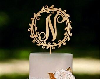 Rustic Wooder Monogram Wedding Cake topper Initial Cake Topper Wood Cake Topper Gold cake topper Silver cake topper