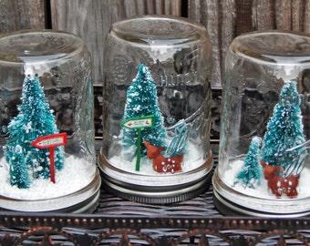 Mason Jar snow globe, deer snow globe, christmas mason jars, rustic holiday decor, waterless snow globe, christmas rustic decor, mason jars