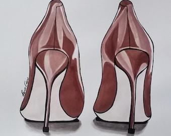 Pen & Ink, Fashion Illustration, shoe art, Ink Drawing, fashion, heels drawing, high fashion, fashion drawing, ink, brown heels, high heels