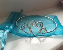 Heart Bracelet, Triple Heart Sterling Silver Bangle, Love Bangle, Elegant Bracelet