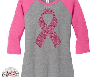 Pink Glitter Breast Cancer Ribbon Baseball Raglan 2 Tone 3/4 Sleeve Womens Tops in Sizes Small-4X, Plus Size