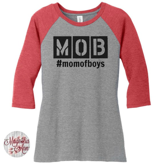 MOB Mom Of Boys, Raglan 2 Tone 3/4 Sleeve Womens Tops in Sizes Small-4X, Plus Size