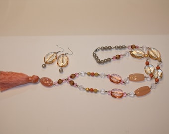 Peach Tassel Jewelry Set Handmade Tassel Necklace with Matching Earrings Bold Large Statement Coral Rose Rosary Style