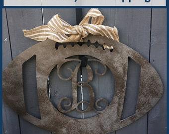Wood Football Monogram, Wooden Letter, Door Hanger, Wall Art, Unfinished, MDF Wood 24 Inch