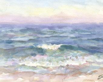 Sea Landscape. Watercolor Landscape. Watercolor Painting. Storm. Sea. Watercolor. Impressionism. Watercolor Sketch. Original Sketch