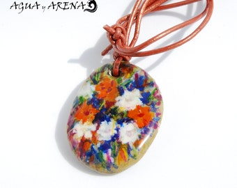 Elegant jewelry. Handmade beach stone necklace. Painted on sea stone. Colorful and unique pendant design. High quality leather cord