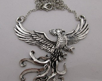 Fawkes Dumbledore's Phoenix / HARRY POTTER / Antique Silver Pendant Necklace