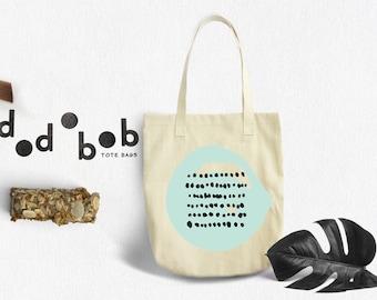 Tote Bag, Geometric Tote Bag Dots - Canvas Tote Bag - Printed Tote Bag - Market Bag - Cotton Tote Bag - Large Funny Tote Bag Dots