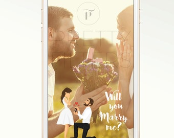 DIY Snapchat GeoFilter for Engagement | Personalised cartoon | We Customize for You | Ready in 48 hours | Perfect Gift