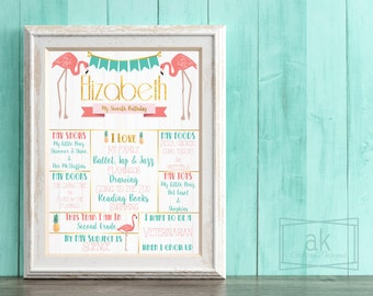Flamingo Birthday Sign - Pink/Mint/Gold/Pineapple - Digital 16x20 Printable File