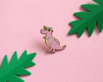 Almost Extinct Dinosaur with Palm Sunglasses - Hard Enamel Gold Lapel Pin