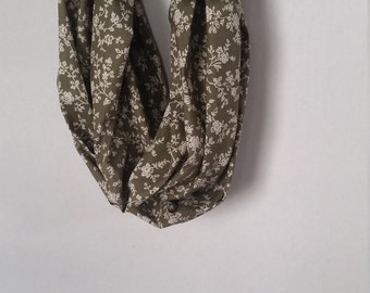 Seaweed/Moss Green and Cream Floral Pattern Cotton Infinity Scarf