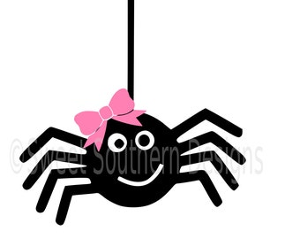 Cute spider with bow for Halloween SVG instant download design for cricut or silhouette