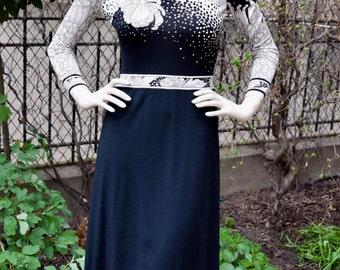 LEONARD FASHION Black and White 1970 Dress