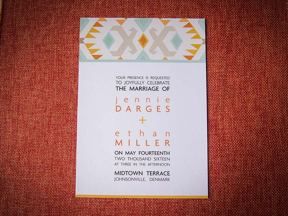 Boho Tribal Digital Wedding Invitation + RSVP