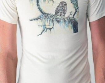 Vintage forest screen print tee // owl and forest // cotton blend shirt // size small // yellow