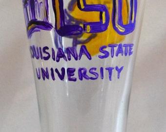 Hand Painted LSU Pilsner Glasses