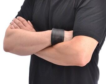 Mens Leather Bracelet / Leather Cuff Bracelet, Leather Wrap Bracelet / Black Leather Bracelet, Leather Wrist Cuff, Leather Wristband