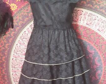 Black lace spanish peasant style vintage dress