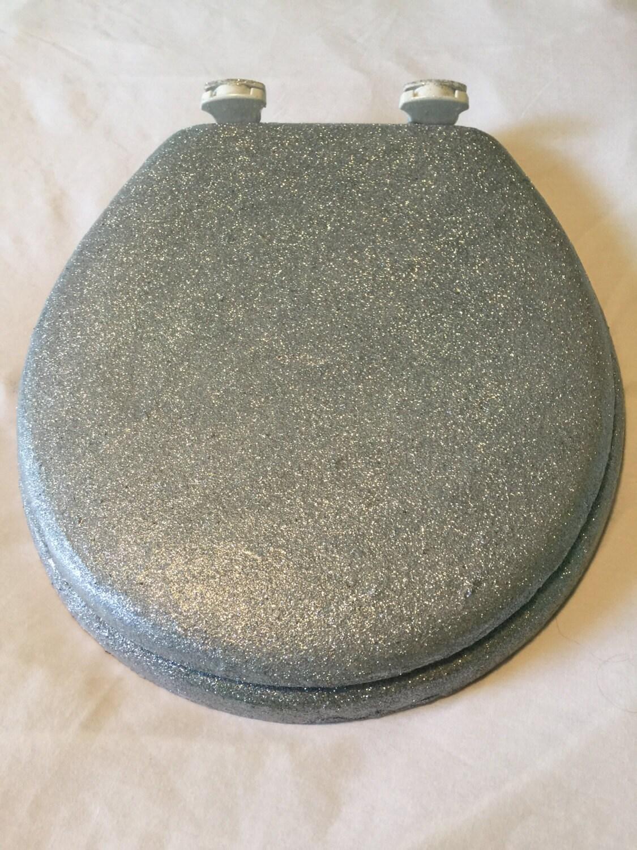 glitter toilet seat silver glitter by whatatoilet on etsy. Black Bedroom Furniture Sets. Home Design Ideas