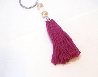 Red- Purple Tassel & Beaded Keychain  tassel keychain tassel key charm boho keychains hippy keychains girly key chains  boho tassel  hippy